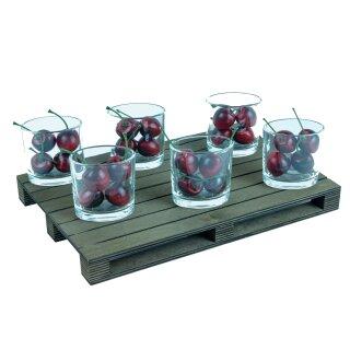 Fingerfood Glas 6 Stück auf Holzpalette 90ml